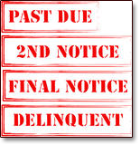 Bankruptcy can get you out of debt quickly. Image of rubber stampped notices Past Due, 2nd Notice, Final Notice, Deliquent.