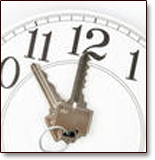 Act fast enough and a home with a deliquent mortgage may be saved with and without bankruptcy. Image of clock with house keys as hands.
