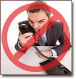 Bankruptcy stops bill collectors cold. Image of business man yelling into a telephone with the universal red circle with cross meaning no sign.