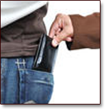 A wage attachment is like a creditor taking your wallet every paycheck. Image of man in business suit removing the wallet from the pocket of a man in jeans and casual clothes.